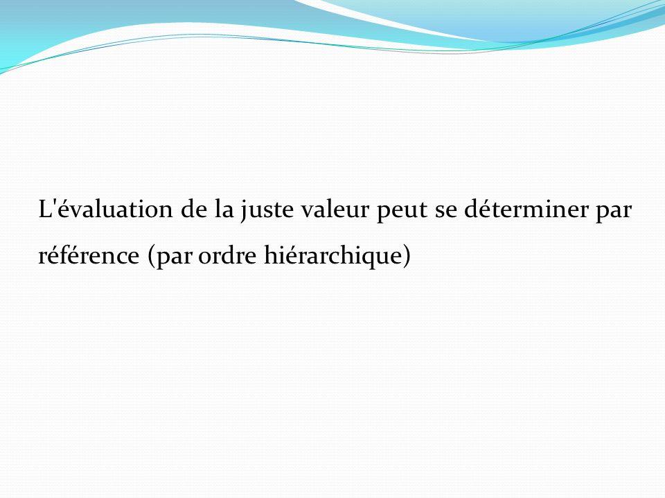 L évaluation de la juste valeur peut se déterminer par référence (par ordre hiérarchique)