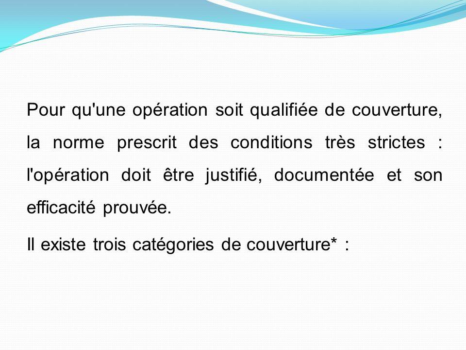 Pour qu une opération soit qualifiée de couverture, la norme prescrit des conditions très strictes : l opération doit être justifié, documentée et son efficacité prouvée.