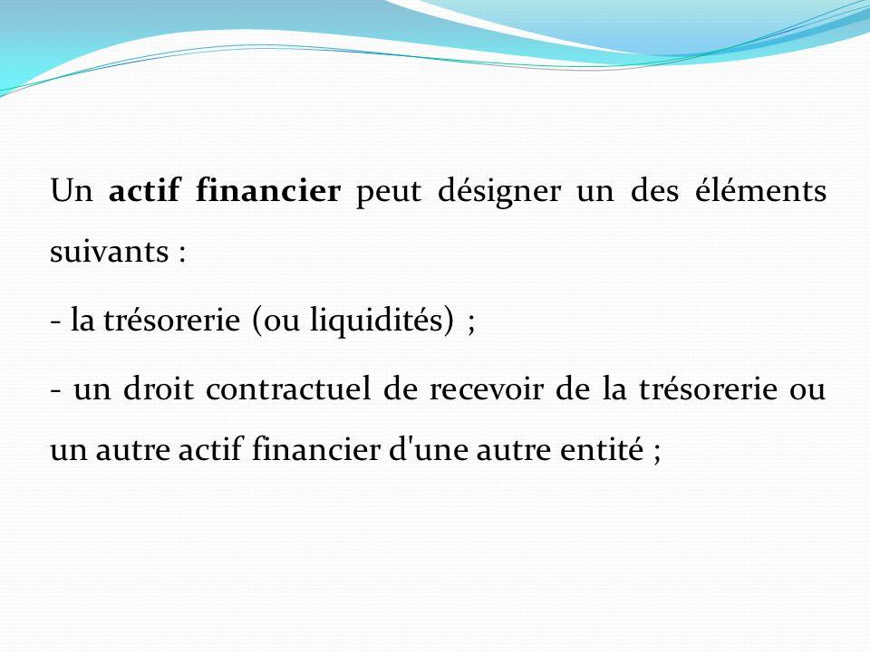 Un actif financier peut désigner un des éléments suivants : - la trésorerie (ou liquidités) ; - un droit contractuel de recevoir de la trésorerie ou un autre actif financier d une autre entité ;