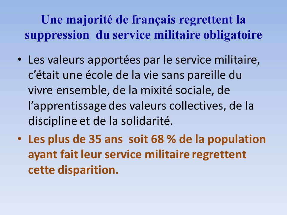 Une majorité de français regrettent la suppression du service militaire obligatoire