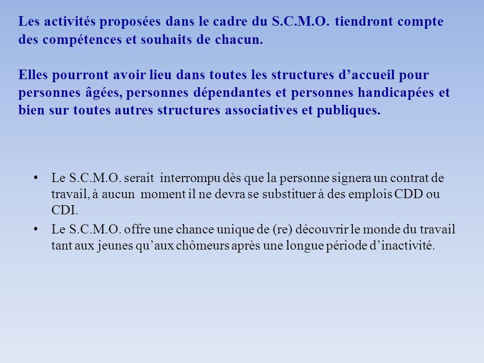 Les activités proposées dans le cadre du S. C. M. O