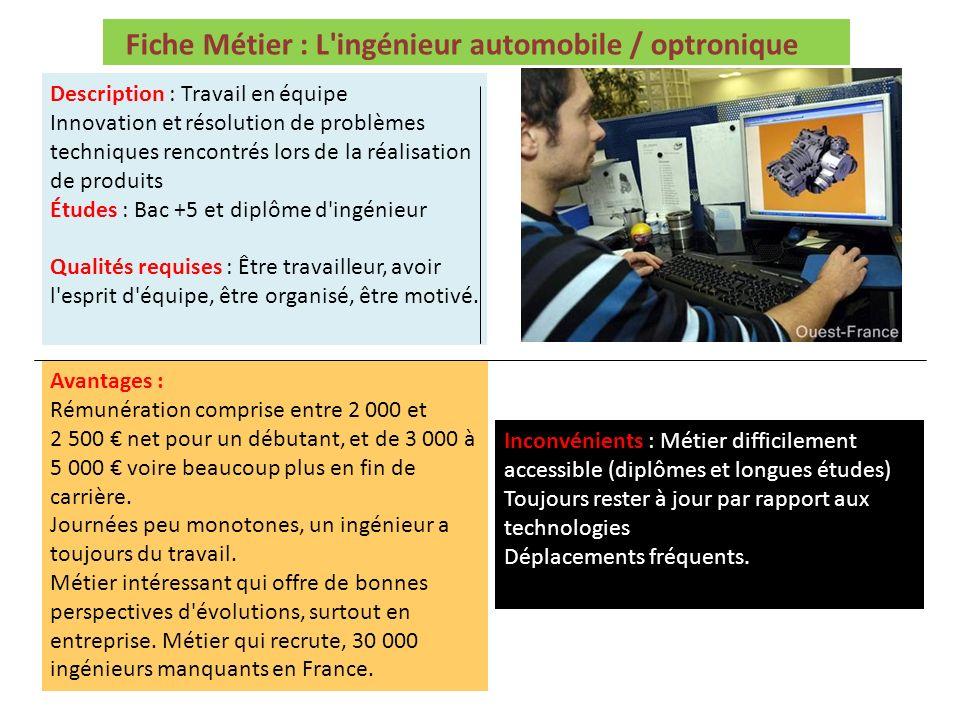 Fiche Métier : L ingénieur automobile / optronique