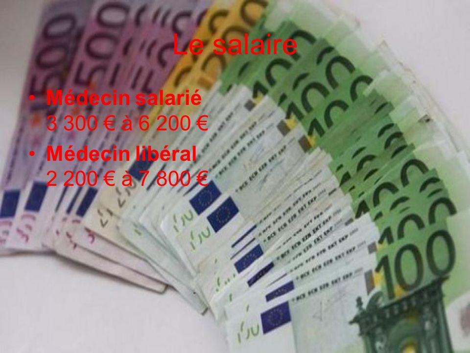 Le salaire Médecin salarié 3 300 € à 6 200 €