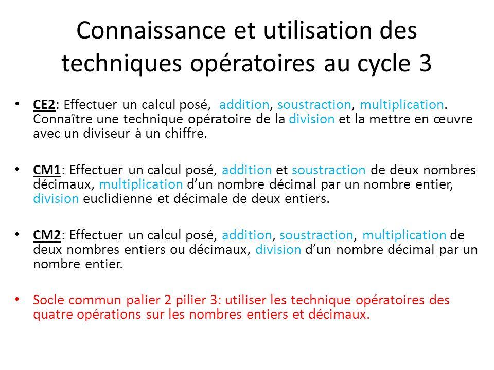 Connaissance et utilisation des techniques opératoires au cycle 3