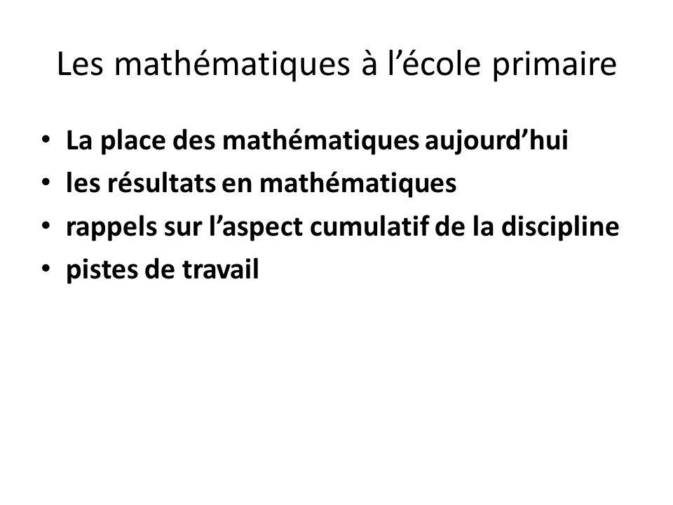 Les mathématiques à l'école primaire