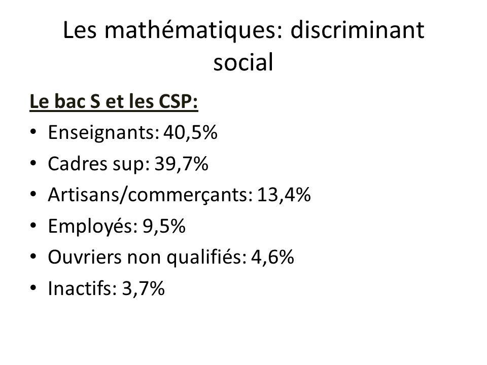 Les mathématiques: discriminant social