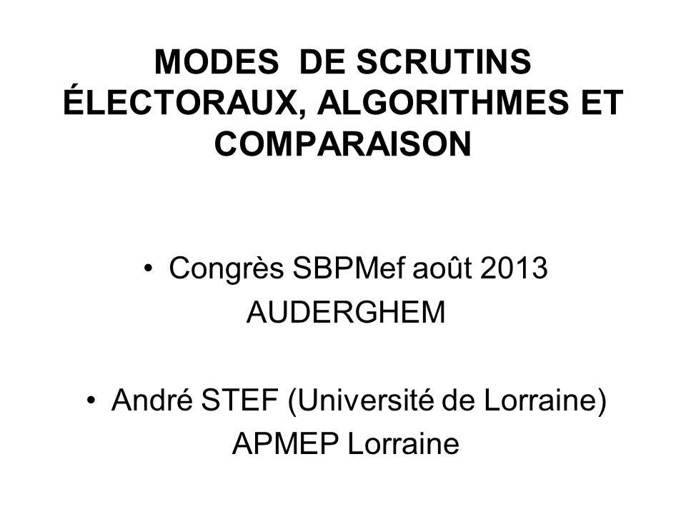 Modes de scrutins Électoraux, algorithmes et comparaison