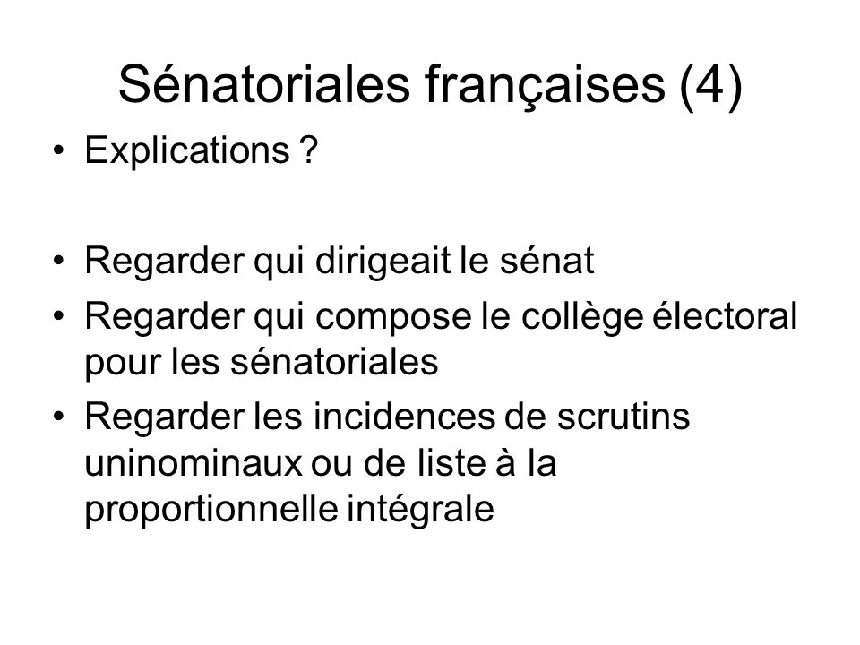 Sénatoriales françaises (4)