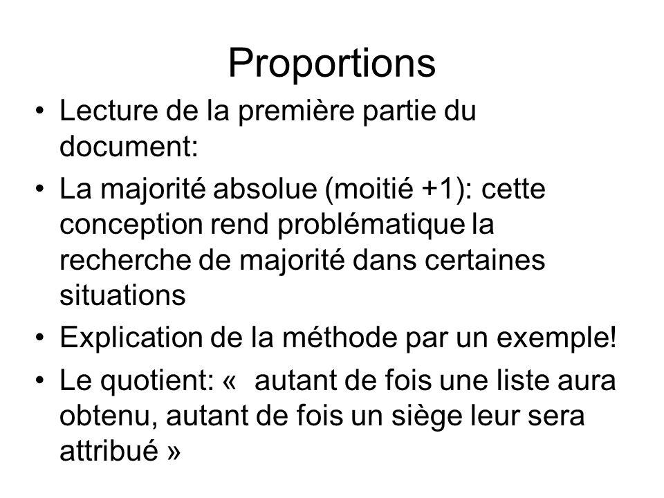 Proportions Lecture de la première partie du document: