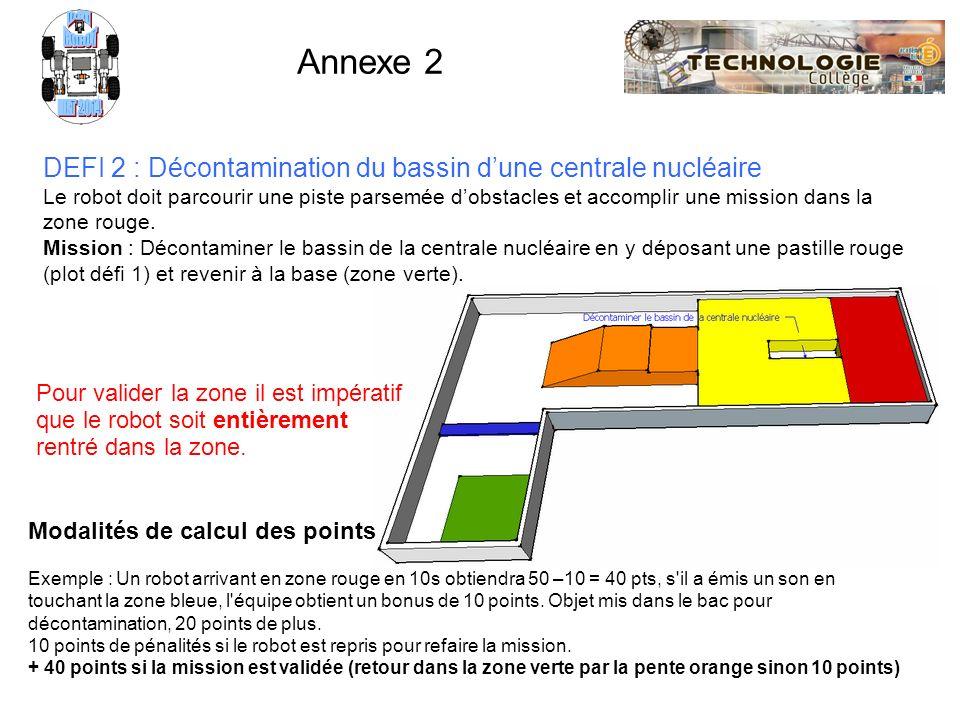 ROBOT NXT 2014. Défi. Annexe 2. DEFI 2 : Décontamination du bassin d'une centrale nucléaire.