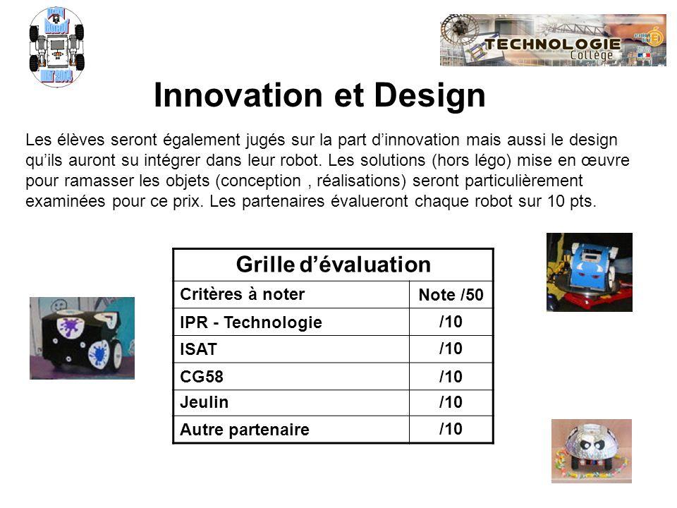 Défi ROBOT NXT 2014 Innovation et Design Grille d'évaluation