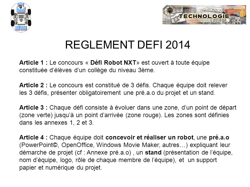 Défi ROBOT NXT 2014 REGLEMENT DEFI 2014