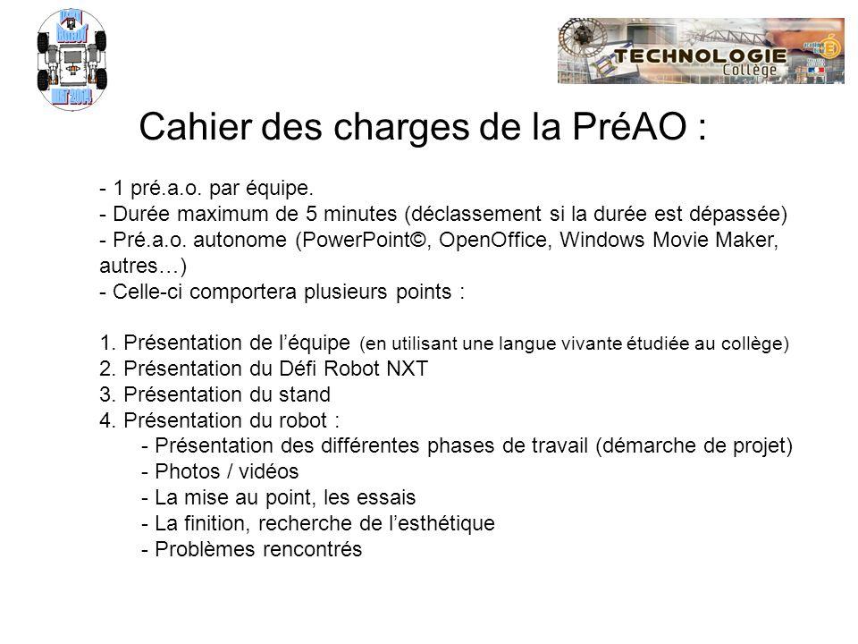Cahier des charges de la PréAO :