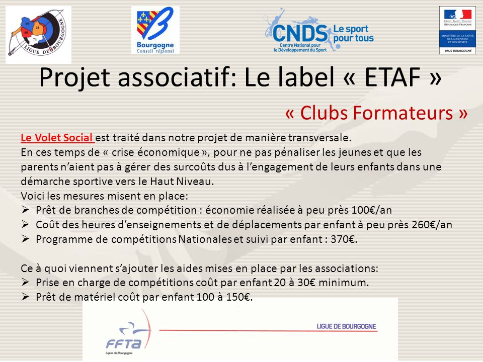 Projet associatif: Le label « ETAF »