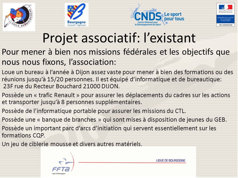 Projet associatif: l'existant