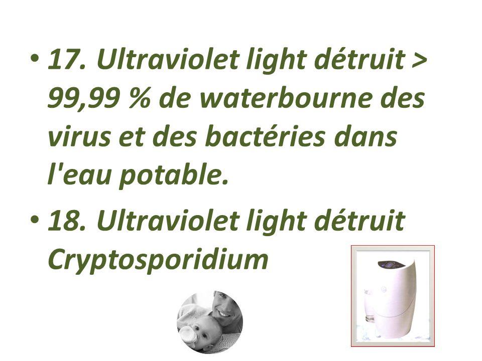 17. Ultraviolet light détruit > 99,99 % de waterbourne des virus et des bactéries dans l eau potable.