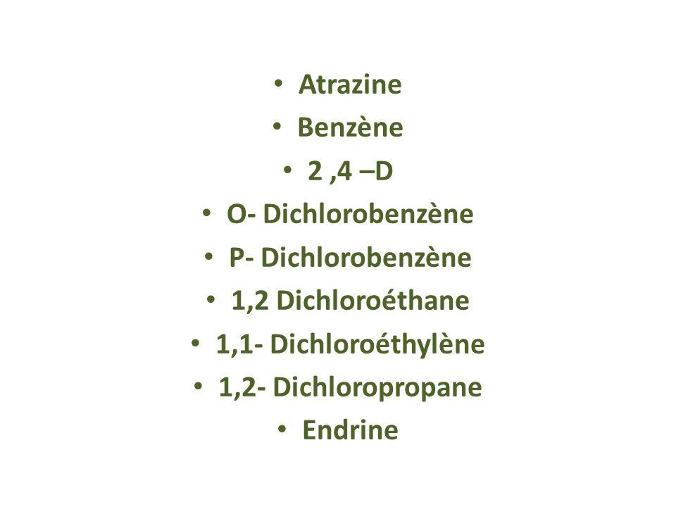 Atrazine Benzène. 2 ,4 –D. O- Dichlorobenzène. P- Dichlorobenzène. 1,2 Dichloroéthane. 1,1- Dichloroéthylène.