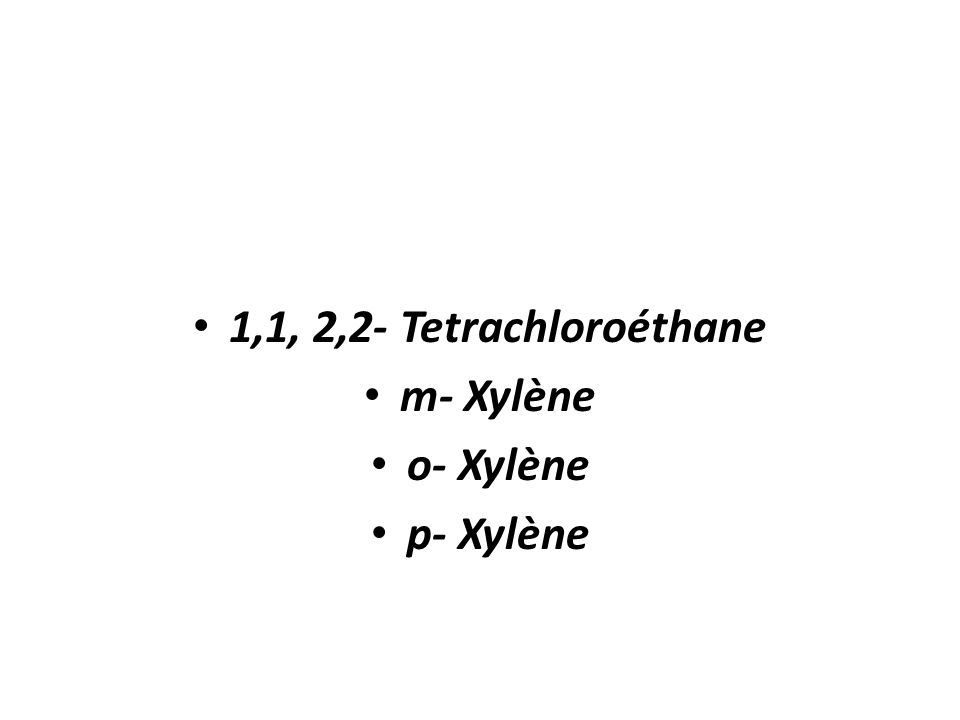 1,1, 2,2- Tetrachloroéthane m- Xylène o- Xylène p- Xylène