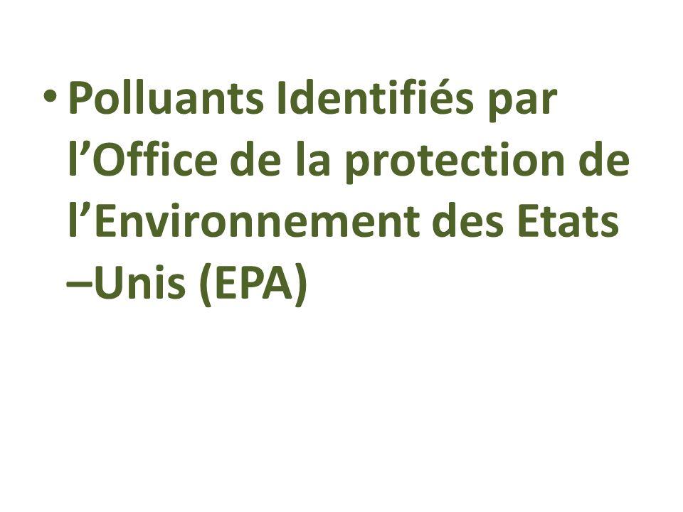 Polluants Identifiés par l'Office de la protection de l'Environnement des Etats –Unis (EPA)