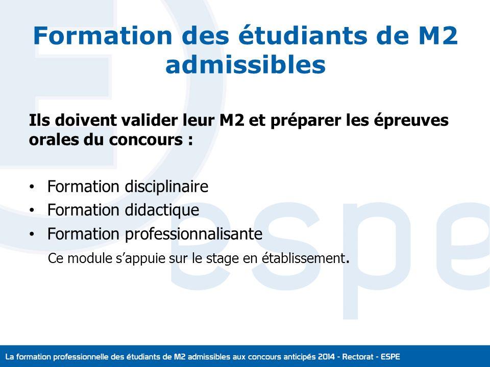 Formation des étudiants de M2 admissibles