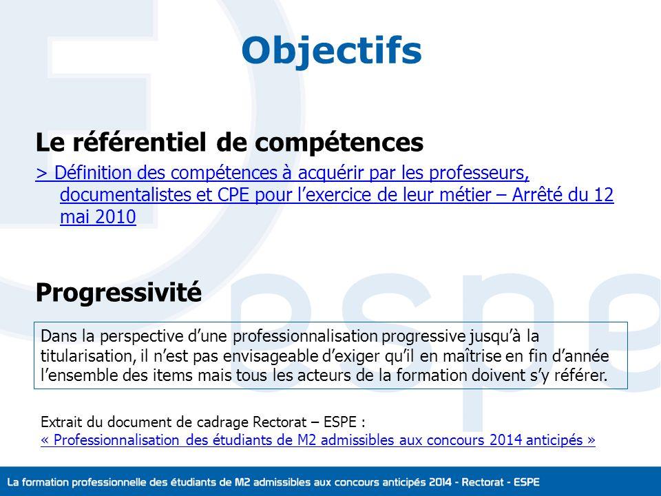 Objectifs Le référentiel de compétences Progressivité