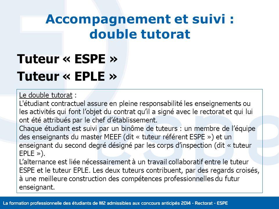 Accompagnement et suivi : double tutorat