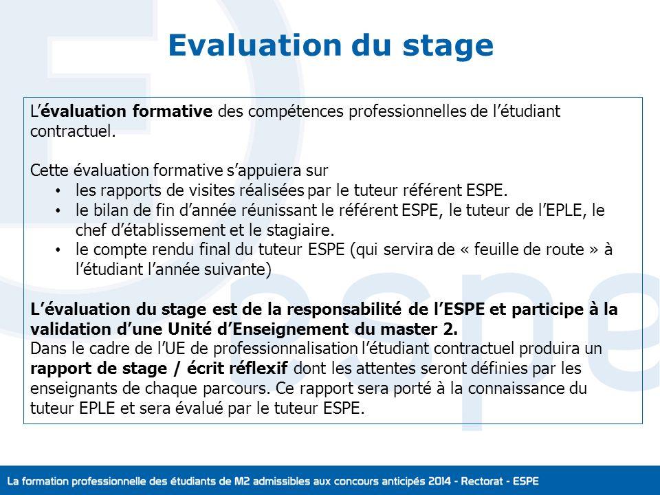 Evaluation du stage L'évaluation formative des compétences professionnelles de l'étudiant contractuel.