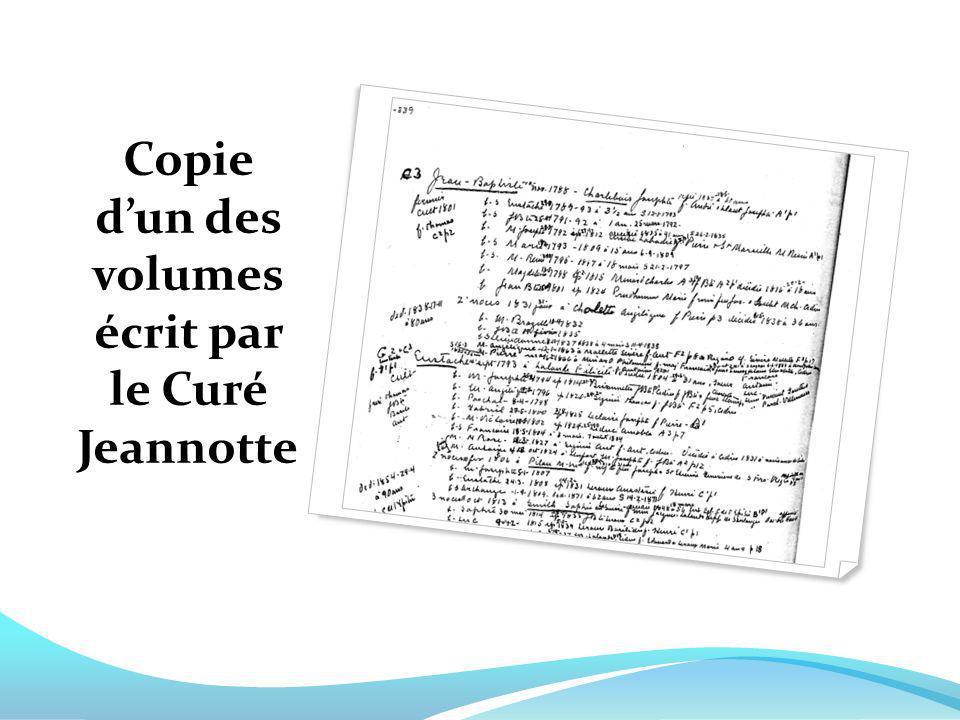 Copie d'un des volumes écrit par le Curé Jeannotte