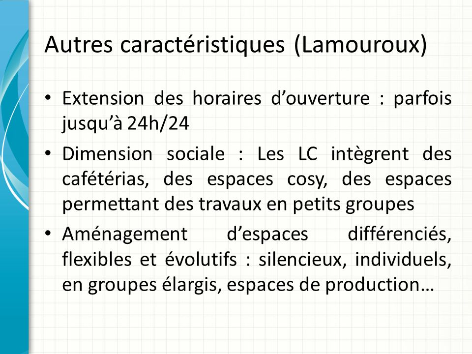 Autres caractéristiques (Lamouroux)