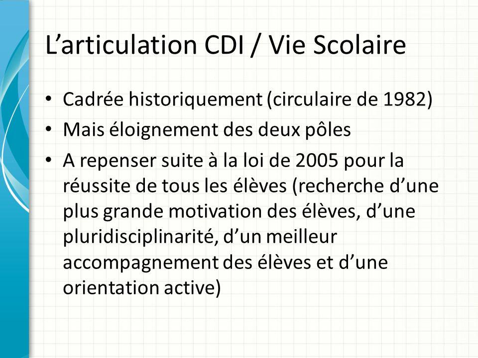 L'articulation CDI / Vie Scolaire