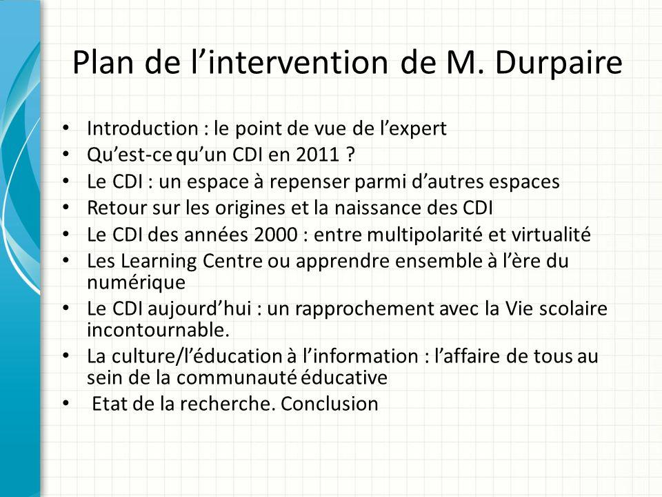 Plan de l'intervention de M. Durpaire