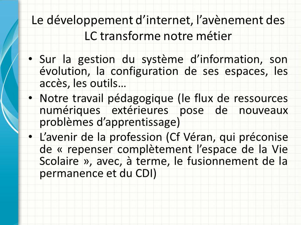 Le développement d'internet, l'avènement des LC transforme notre métier
