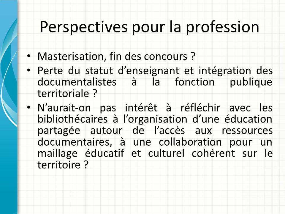 Perspectives pour la profession