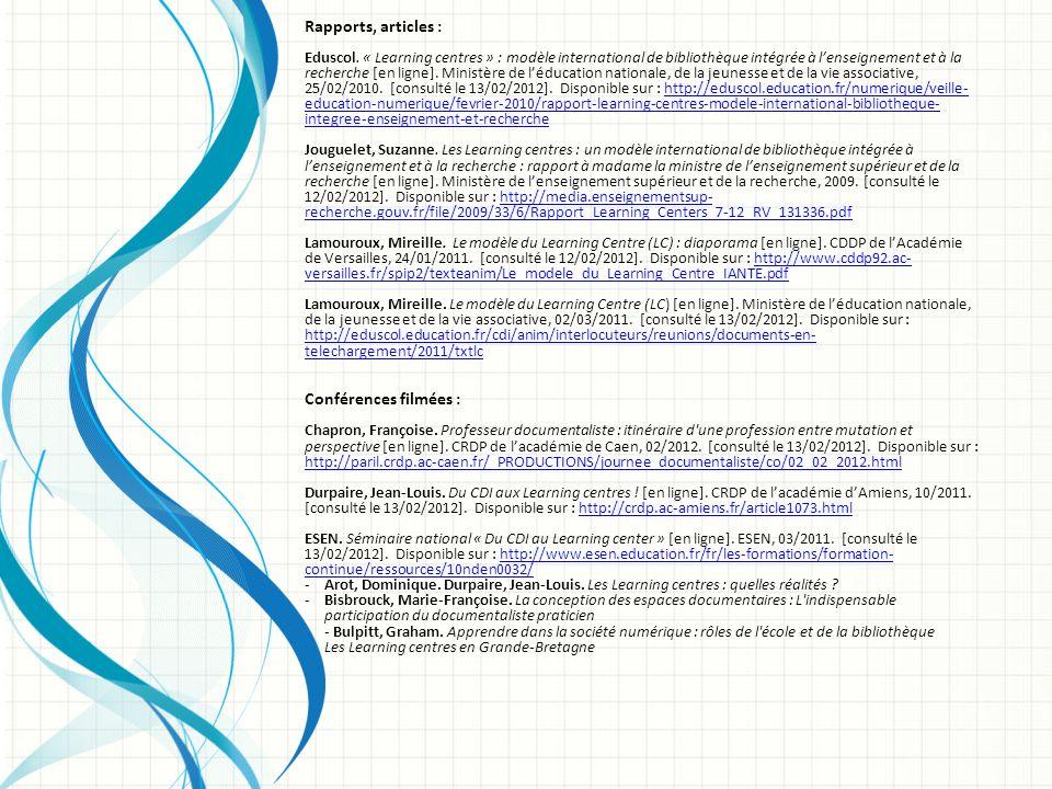 Rapports, articles : Conférences filmées :