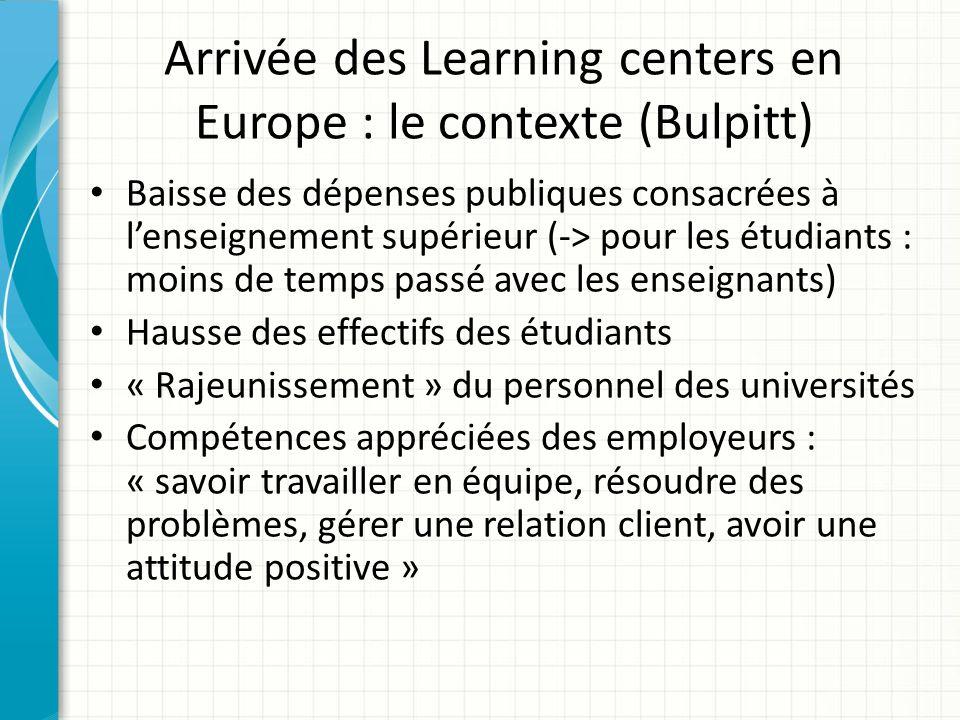 Arrivée des Learning centers en Europe : le contexte (Bulpitt)