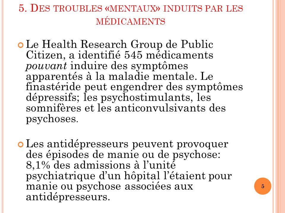 5. Des troubles «mentaux» induits par les médicaments