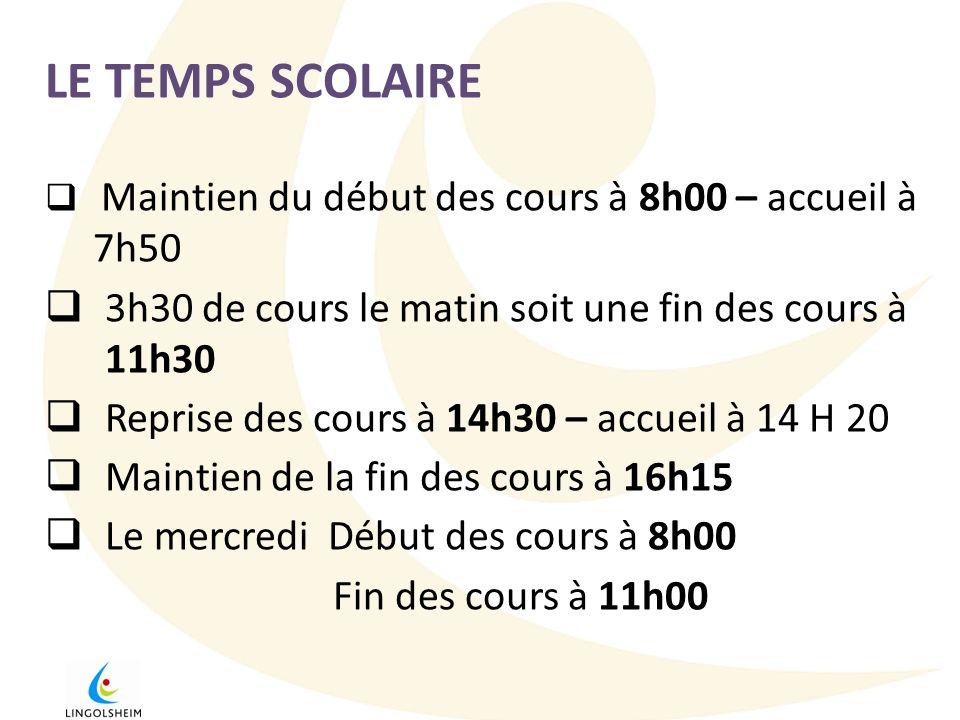 LE TEMPS SCOLAIRE Maintien du début des cours à 8h00 – accueil à 7h50. 3h30 de cours le matin soit une fin des cours à 11h30.
