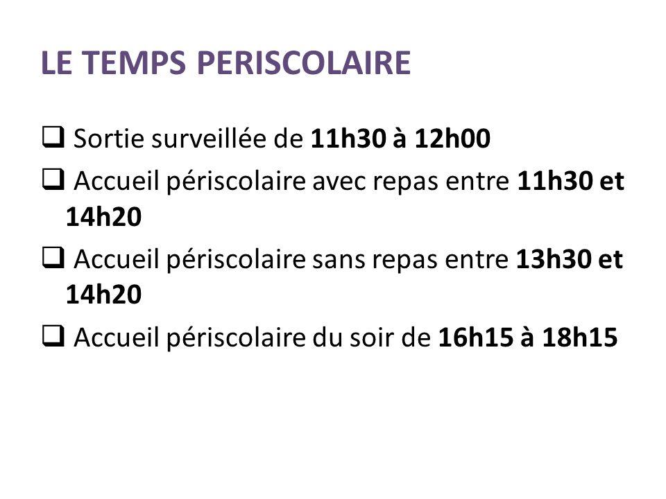 LE TEMPS PERISCOLAIRE Sortie surveillée de 11h30 à 12h00