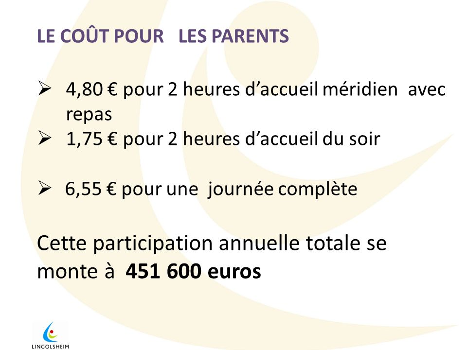 Cette participation annuelle totale se monte à 451 600 euros