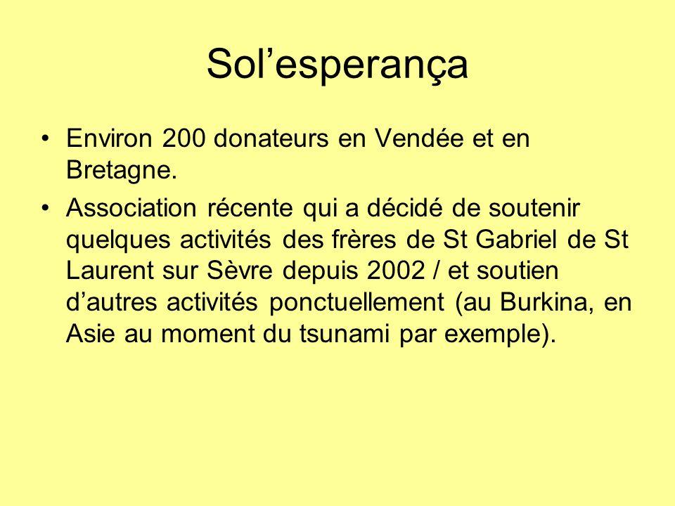 Sol'esperança Environ 200 donateurs en Vendée et en Bretagne.