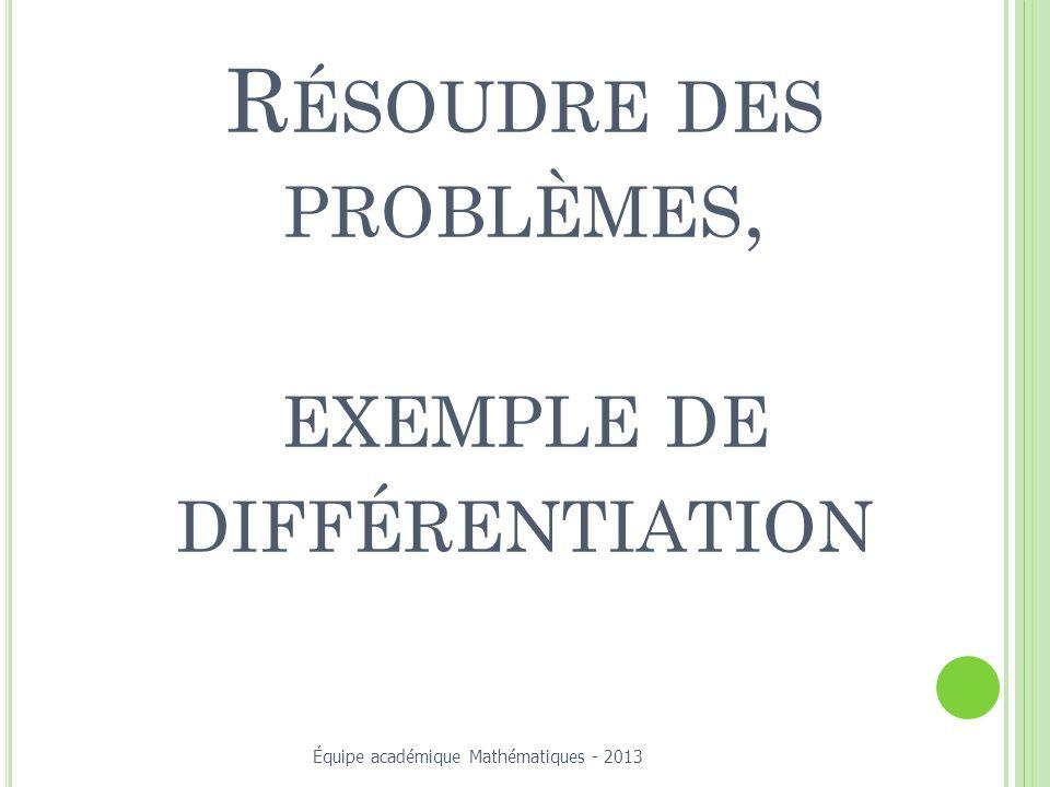 Résoudre des problèmes, exemple de différentiation