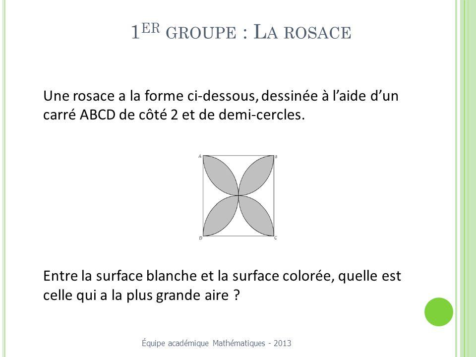 1er groupe : La rosace Une rosace a la forme ci-dessous, dessinée à l'aide d'un carré ABCD de côté 2 et de demi-cercles.