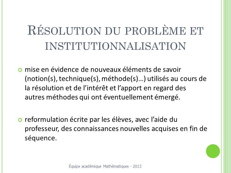 Résolution du problème et institutionnalisation