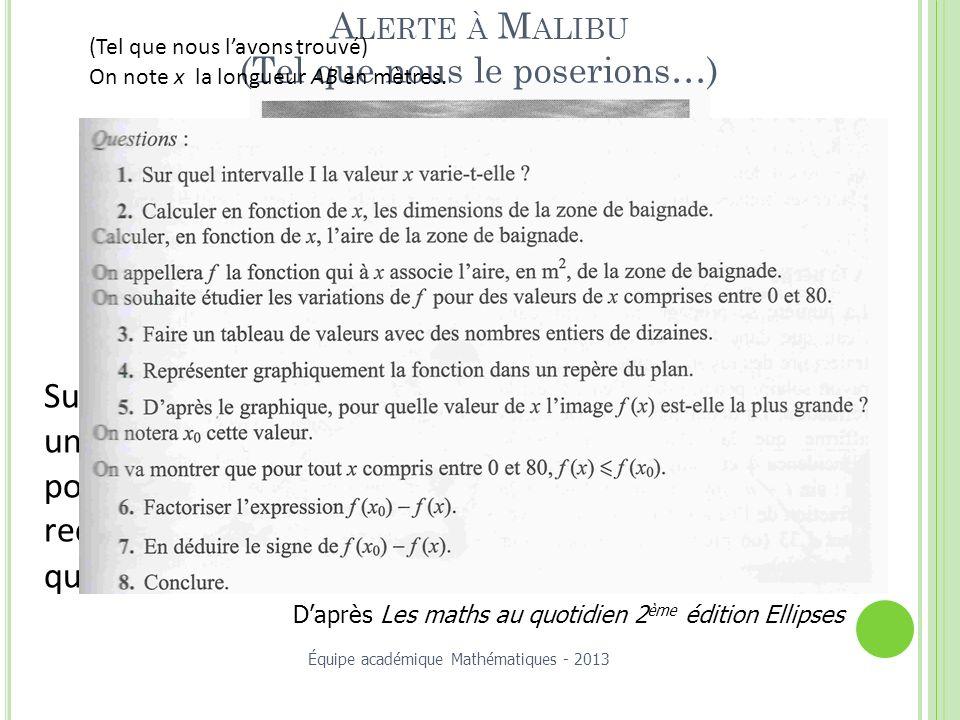Alerte à Malibu (Tel que nous le poserions…)