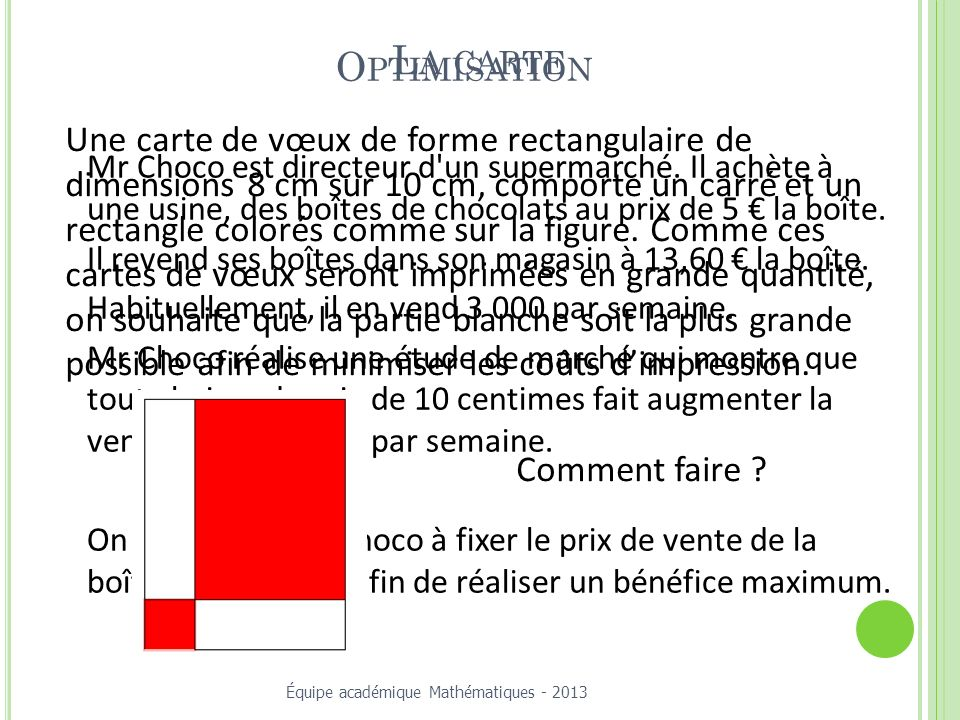 La carte Optimisation.
