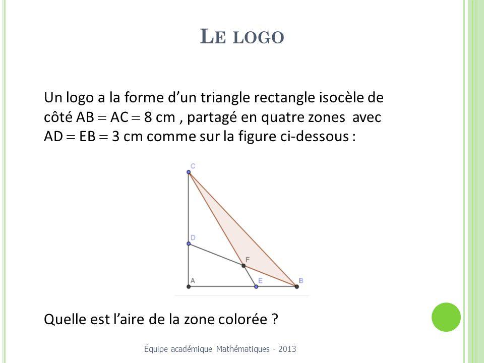 Le logo Un logo a la forme d'un triangle rectangle isocèle de côté AB = AC = 8 cm , partagé en quatre zones avec.