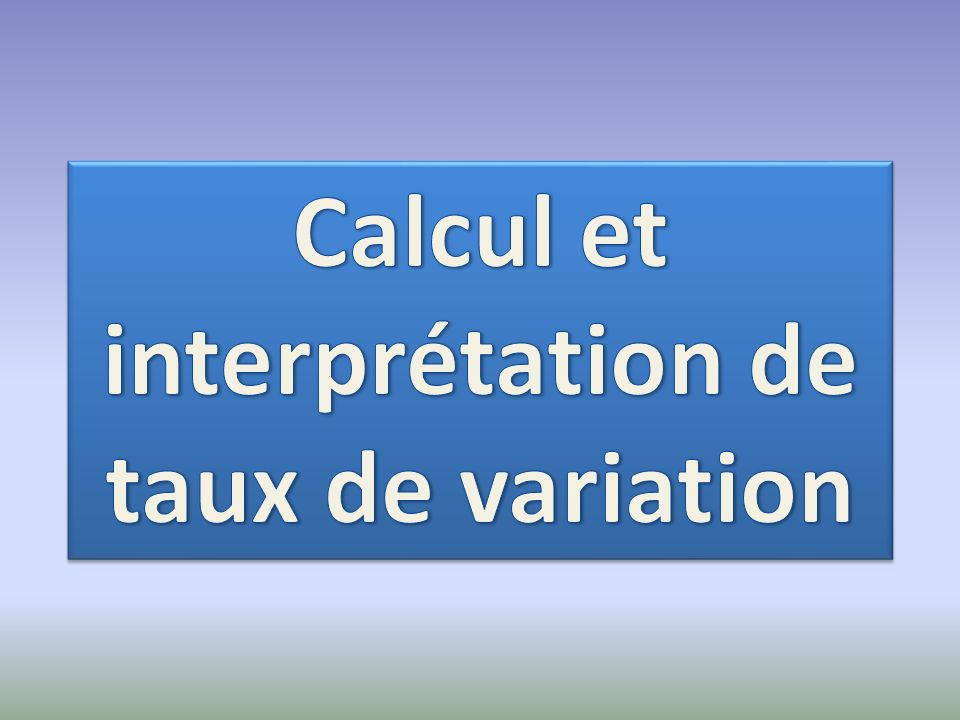 Calcul et interprétation de taux de variation