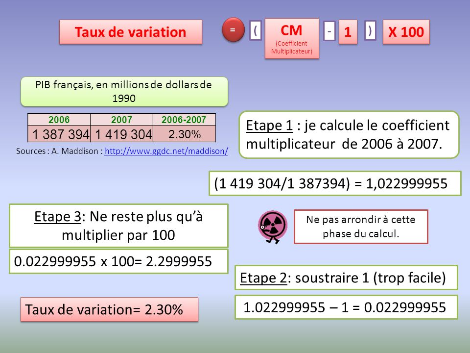 Etape 1 : je calcule le coefficient multiplicateur de 2006 à 2007.