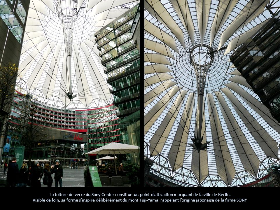 La toiture de verre du Sony Center constitue un point d'attraction marquant de la ville de Berlin.