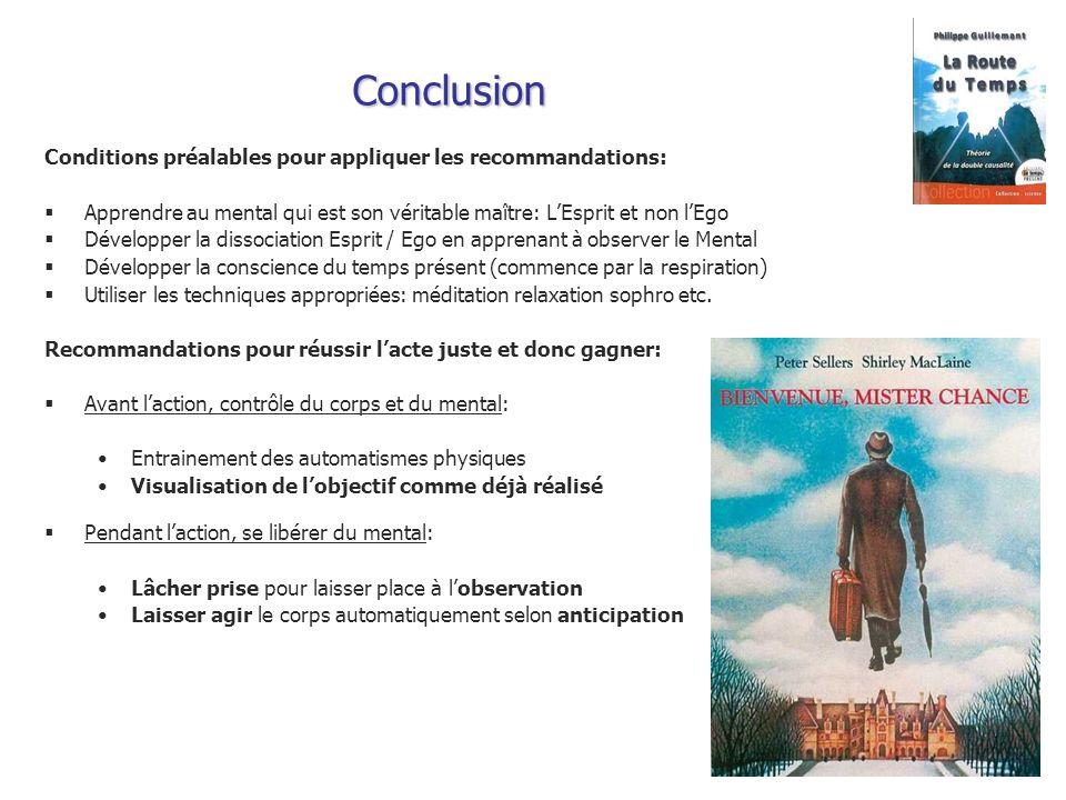 Conclusion Conditions préalables pour appliquer les recommandations: